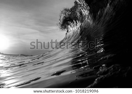 A black and white breaking wave in New York #1018219096