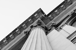 A black and white Column detail corner of a historical building.