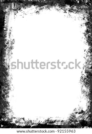 A black and white grunge frame with white  empty space inside