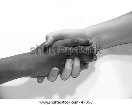 a black and white hand shake of two young teen boys on white background in black and white