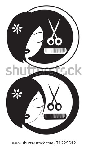 a black and white logo for hair-styler