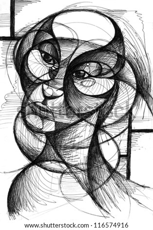 A black and white pen and ink illustration of a portrait of a face in a modern style with interacting curves and movement.