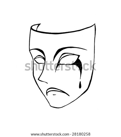 A black and white pencil sketch of a sorrowful face mask with tears.