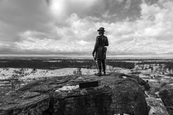 A black and white photo of Union General Kemble Warren on Little Round Top at the Gettysburg National Military Park in Pennsylvania where union and confederate soldiers battled in July of 1863.