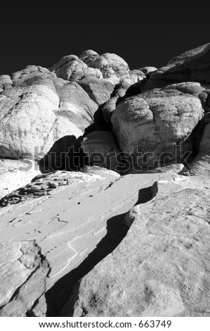 A black and white scene at Red Rock