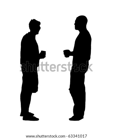 A black and white silhouette of two men drinking beer. - stock photo