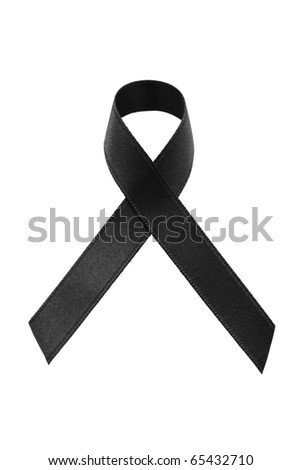A black awareness ribbon on white background