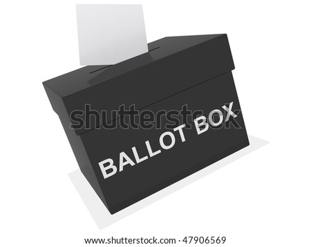 a black ballot box isolated on white