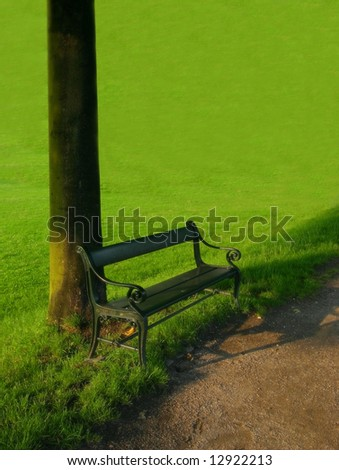 A black bench in the park
