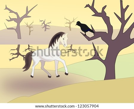 A black bird sitting in a tree watching a white horse