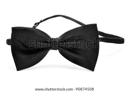 a black bow tie on a white background