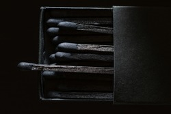 A black box of black matches shot low key and from above against a black background.  One match sticking out of the box and space for text