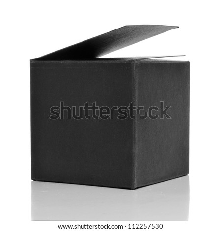 a black cardboard box on a white background
