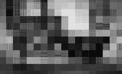 A black clooured decorative squared shaped striped and pixelated cloth texture design template