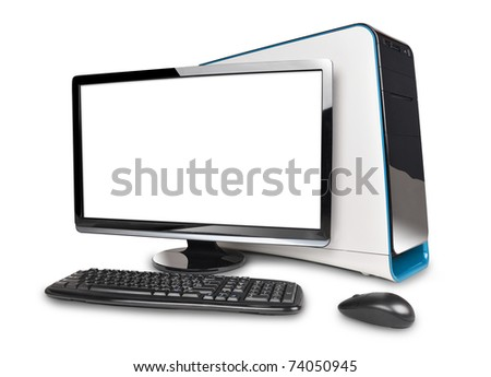 A black computer desktop is isolated on a white background with a blank screen to add text.