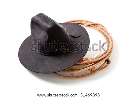 a Black cowboy hat and lariat on a white background