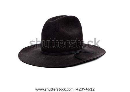 A Black cowboy hat on a white background