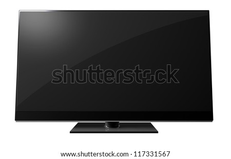 A black flat screen television on an isolated background