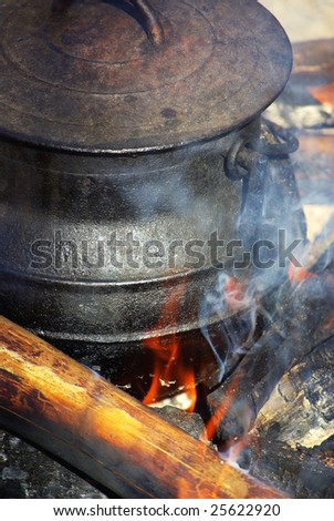 A Black Iron Cauldron in fire.