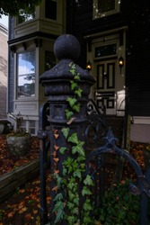 A black iron gate post with green ivy growing up the decorative post. A window and door are in the background with autumn leaves scattered on the ground. Trees and blue sky is reflecting in the window
