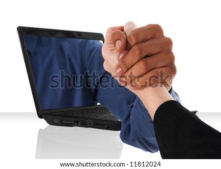 a black laptop computer with a upper hand shake