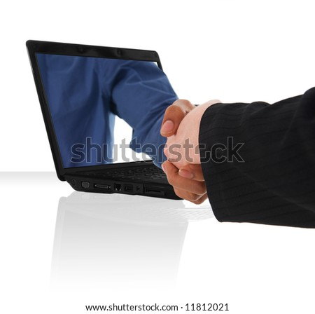 a black laptop computer with a virtual hand shake