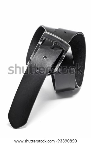 a black leather belt on a white background