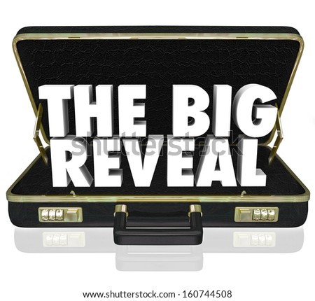 A black leather briefcase with words The Big Reveal inside as a surprise or shocking discovery being shared or presented with an audience or customer Stockfoto ©