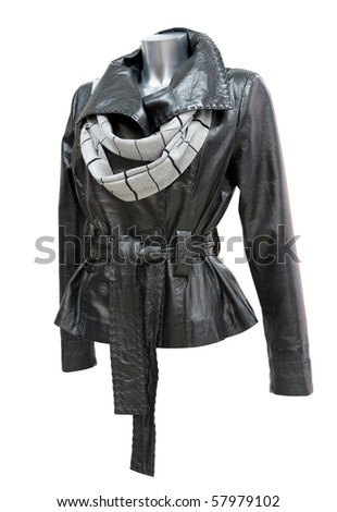 a black leather ladies jacket with a scarf, isolated, clipping path