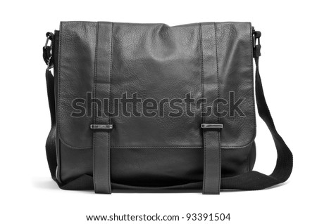 a black leather purse on a white background