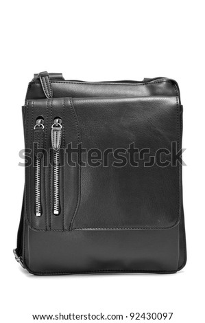 a black leather sling bag on a white background