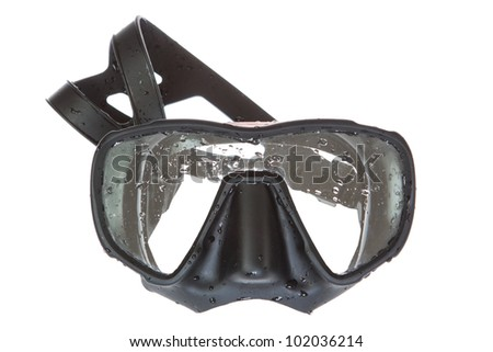A black mask for scuba diving. On a white background.