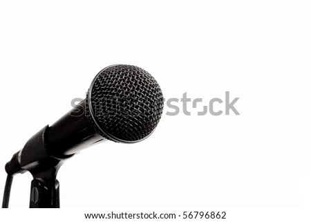A black microphone on a stand isolated on white