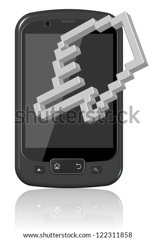 A black mobile phone with a computer hand cursor icon / Mobile phone touch screen