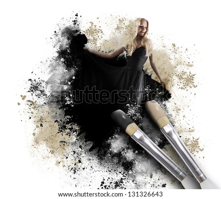 A black paintbrush is painting a woman in a long dress with a messy artistic texture around her on an isolated white background.
