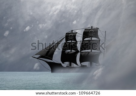A black pirate ship sailing out from a mysterious dreamy mist in an ocean of a surreal landscape.