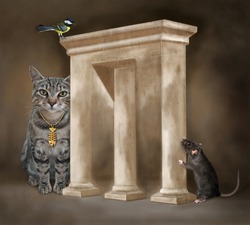 A black rat is hiding from a gray cat behind an impossible arch.