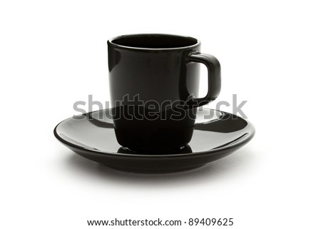 A black set of coffee cup and saucer