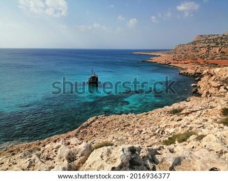 a black ship in the Mediterranean sea near the Cape Greko, Ciprus Stock fotó ©