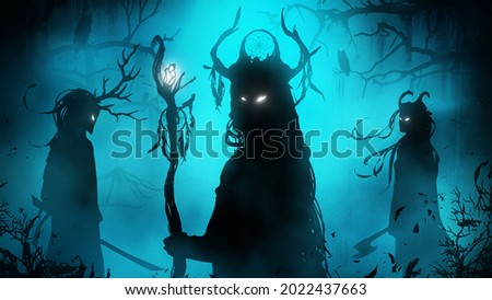 A black silhouette of a sinister trio of shamans in the middle of a foggy swampy forest, their eyes mysteriously glow in the dark, they are dressed in ethnic clothes with masks and horns. 2d art