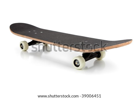 A black skate board on a white background