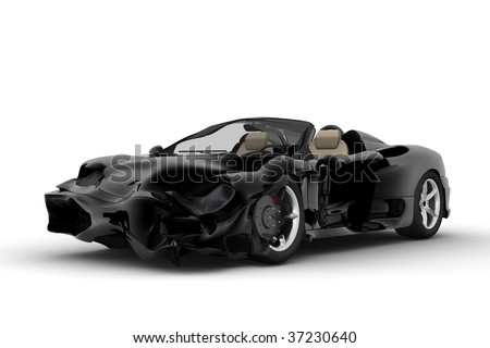 A black sport car accident on a white background