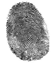 a black thumb fingerprint in white back