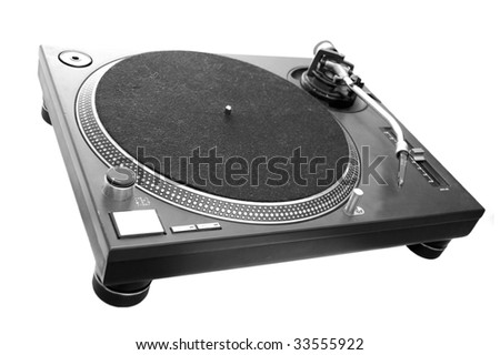 A black turntable isolated on white. - stock photo