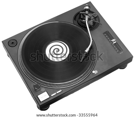 A black turntable with a record playing on it.