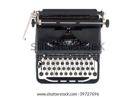 A black typewriter from the 1920s viewed from above, isolated on white