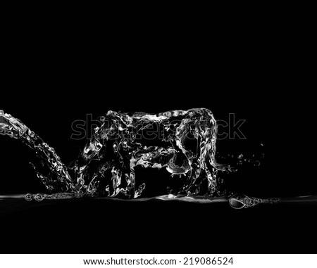A black water cow made of water drinking water, symbolizing the importance of water to the agricultural sector.