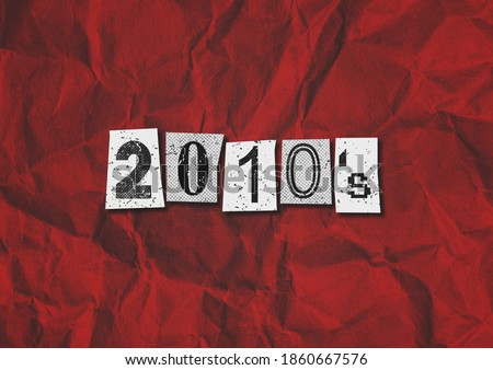 A black, white and red 2010's Punk Rock music style grunge text collage graphic illustration with copy space Stockfoto ©