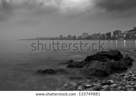 A Black & White Sea Scape Taken From The Shores Around The Costa Del Sol Spain
