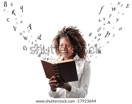 A black woman is reading a book from which the letters are coming out